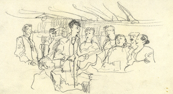 Paul Hogarth, Music in a Pub, East Anglia - Original 1959 charcoal drawing