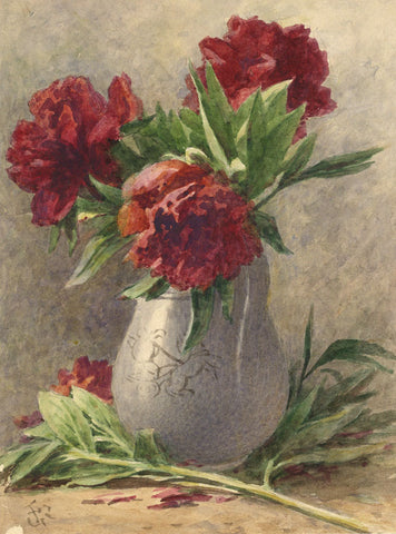 Frederick George Reynolds, Peonies - Original 19th-century watercolour painting