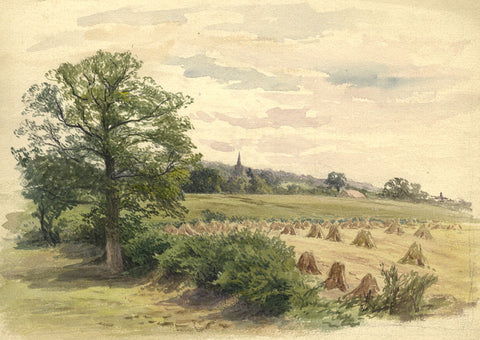 Frederick George Reynolds, Haystacks Hatfield - Original 19th-century watercolour painting