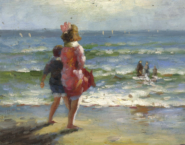 Children at the Seaside - Original mid-20th-century oil painting