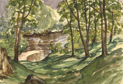 Myles Tonks, Woodland  - Original early 20th-century watercolour painting
