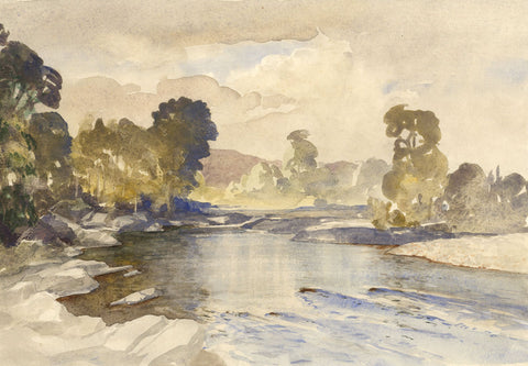 Myles Tonks RI RBA, Reflective Pool - Early 20th-century watercolour painting