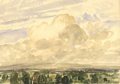Myles Tonks, Landscape with Rainbow - Early 20th-century watercolour painting