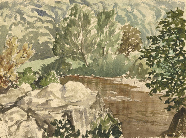 Myles Tonks, Riverside - Original early 20th-century watercolour painting