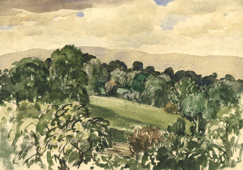 Myles Tonks, Summer Fields - Original early 20th-century watercolour painting