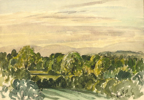 Myles Tonks, English Fields - Original early 20th-century watercolour painting