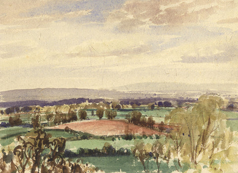 Myles Tonks, Extensive Landscape View - Original early 20th-century watercolour painting