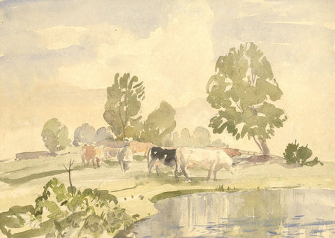 Myles Tonks, Cattle Grazing - Original early 20th-century watercolour painting