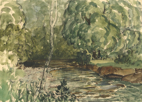 Myles Tonks, Welsh River - Original early 20th-century watercolour painting