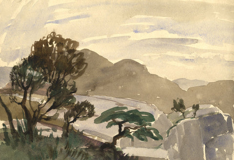 Myles Tonks, Mountain View - Original early 20th-century watercolour painting