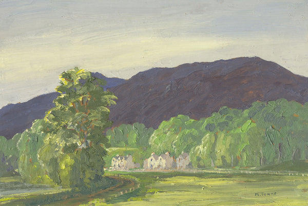 Myles Tonks, Houses in the Valley - Original early 20th-century oil painting