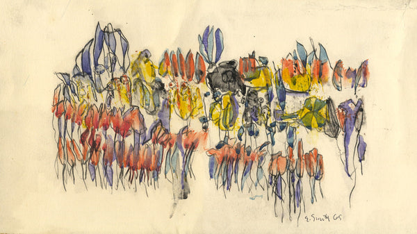Ed Smith, Abstract Botanical Pattern - Original 1965 watercolour painting