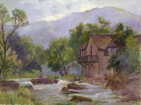 Eva Walbourn, House at the River Edge - Original early 20th-century oil painting