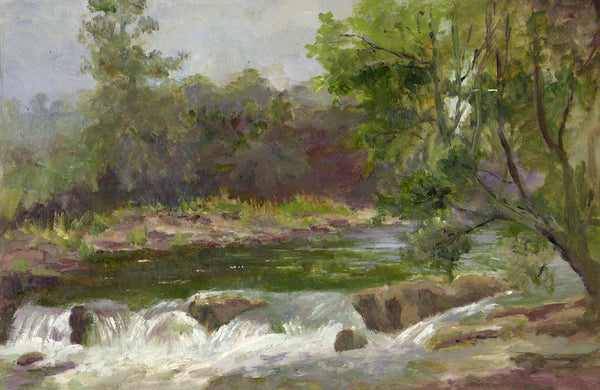 Eva Walbourn, River Landscape - Original early 20th-century oil painting