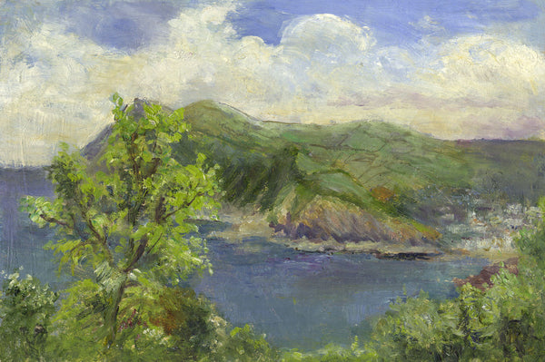 Eva Walbourn, Coastal View - Original early 20th-century oil painting