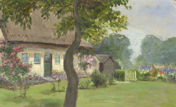Eva Walbourn, Thatched Cottage Garden - Original early 20th-century oil painting