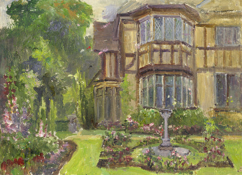 Eva Walbourn, Tudor House and Garden - Original early 20th-century oil painting