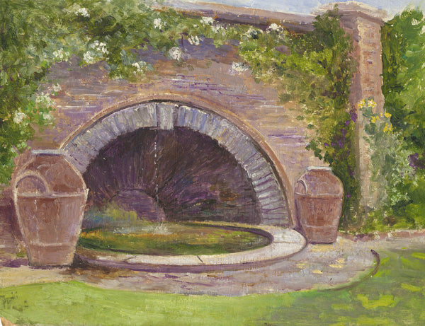Eva Walbourn, Garden Wall - Original early 20th-century oil painting