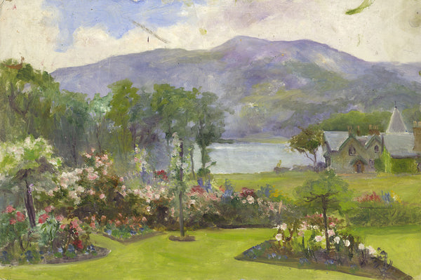 Eva Walbourn, Lakeside Garden - Original early 20th-century oil painting