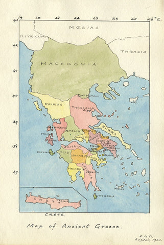 CHD, Map of Ancient Greece - Original 1920 pen & ink drawing