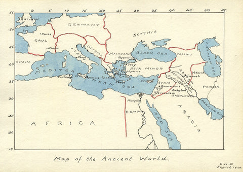 CHD, Map of the Ancient World - Original 1920 pen & ink drawing