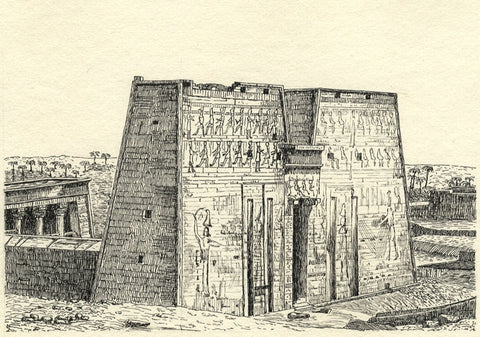 CHD, Gateway of the Temple of Edfu, Egypt - Original 1919 pen & ink drawing