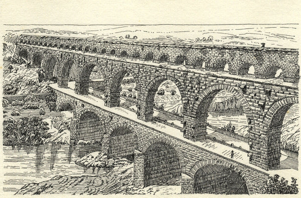 CHD, Pont du Gard near Nîmes, France - Original 1919 pen & ink drawing