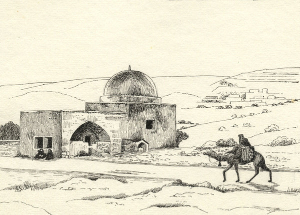 "CHD, ""Rachel's Tomb"", Palestine - Original 1919 pen & ink drawing"