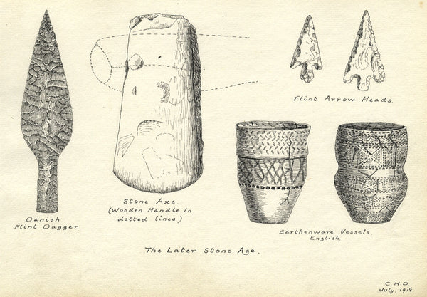 CHD, Artefacts from the Later Stone Age - Original 1918 pen & ink drawing