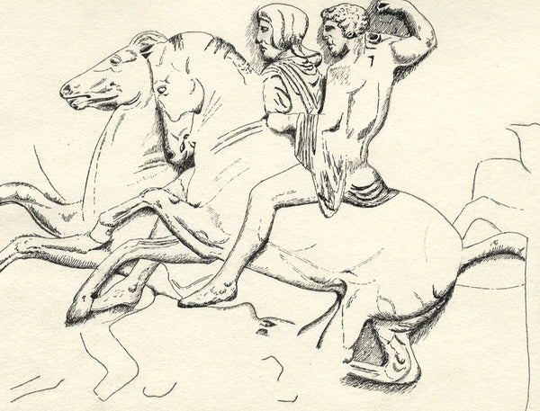 CHD, Horsemen Frieze of the Parthenon, Athens - Original 1918 pen & ink drawing
