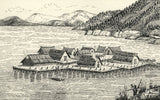 CHD, Village of Lake Dwellings - Original 1918 pen & ink drawing