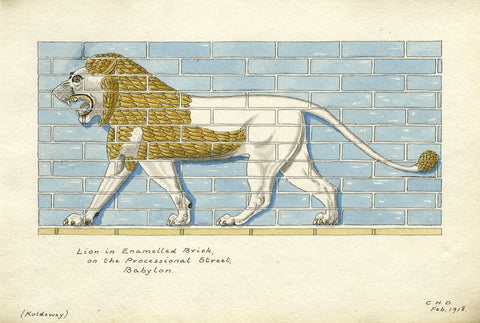 CHD, Lion on the Processional Street, Babylon - Original 1918 pen & ink drawing