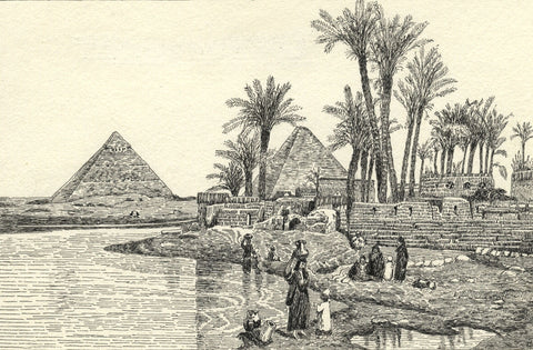 CHD, Egyptian Pyramids, with a Modern Village - Original 1918 pen & ink drawing
