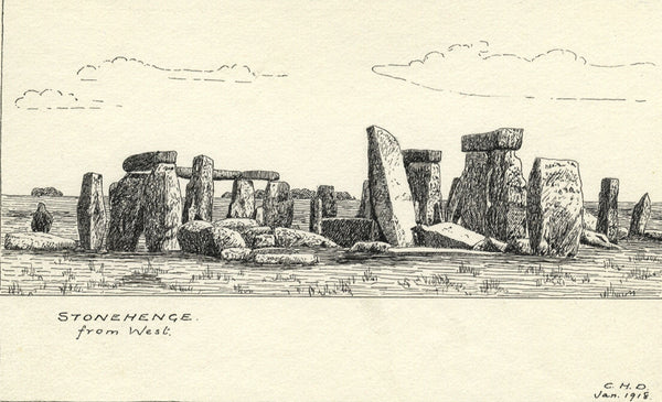 CHD, Stonehenge from West - Original 1918 pen & ink drawing