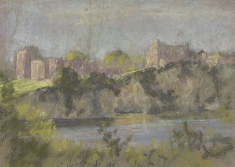 E. Matthews, Chepstow Castle, Wales - Original mid-20th-century pastel drawing
