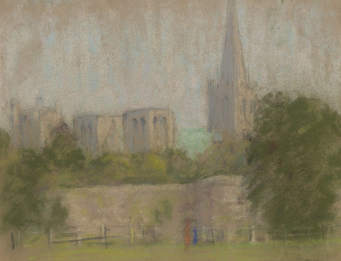 E. Matthews, Chichester Cathedral - Original 1966 pastel drawing
