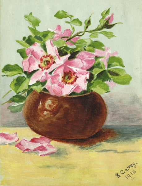 S. Carey, Rose Still Life - Original 1910 watercolour painting