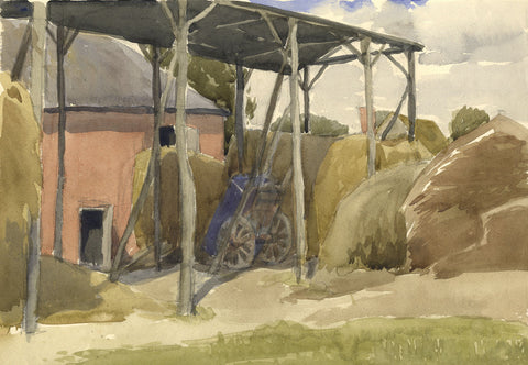 Old Wagon, Shropshire Farm - Original early 20th-century watercolour painting