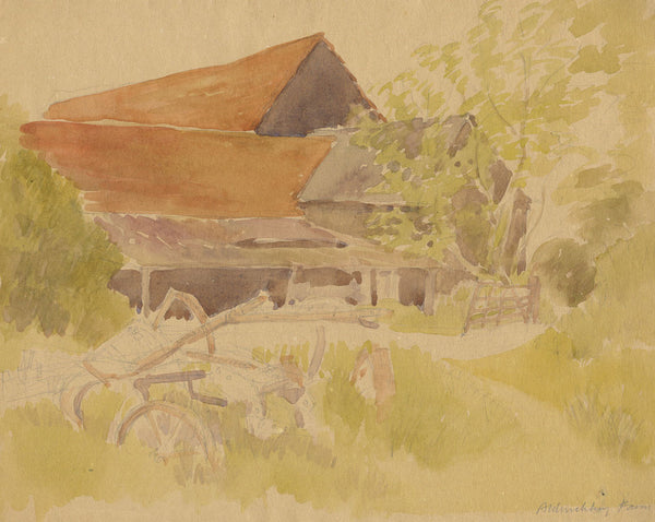 Aldwickbury Farm - Original early 20th-century watercolour painting