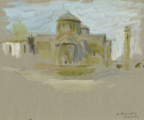 St Barnabas Monastery, Cyprus - Original early 20th-century watercolour painting