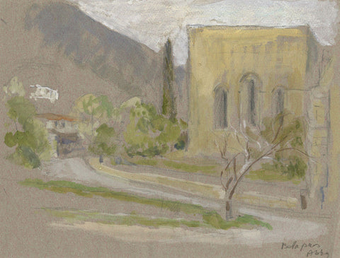 Bellapais Abbey, Cyprus - Original early 20th-century watercolour painting