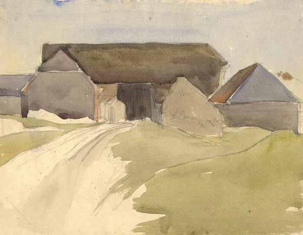 Big Barn - Original early 20th-century watercolour painting