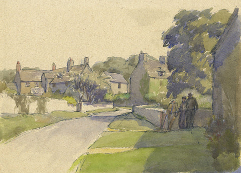 Cotswold Village - Original 1937 watercolour painting