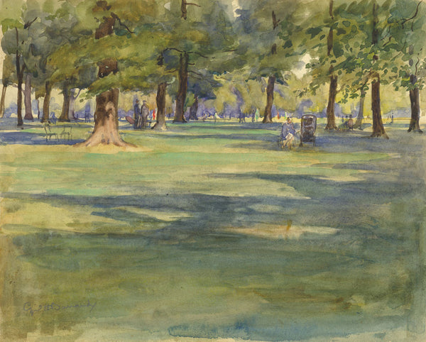 CH Barraud, Kensington Gardens, Trees - Original early 20th-century watercolour painting