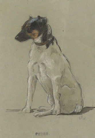 Elsie Powell, Jack Russell - Original 1915 watercolour painting