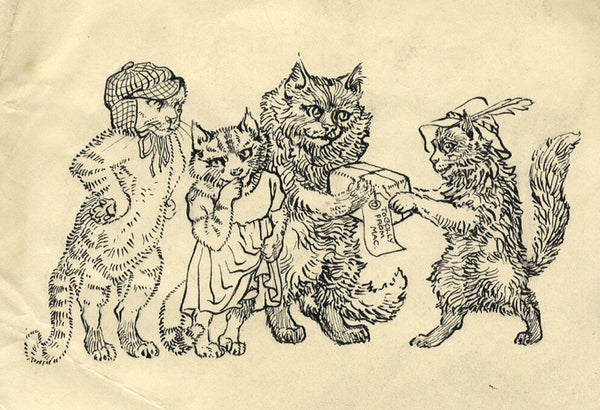 Elsie Powell, Cats Cartoon - Original early 20th-century pen & ink drawing