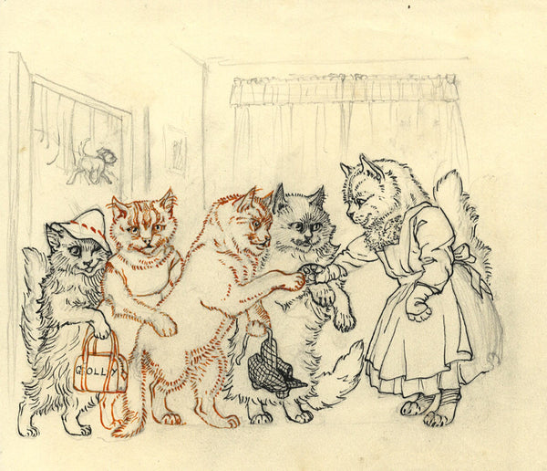 Elsie Powell, Cat Caricature - Original early 20th-century pen & ink drawing