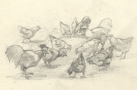 Elsie Powell, Chickens Study - Original early 20th-century graphite drawing