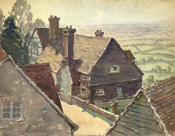 H.S. Merritt, Old Farmhouse - Original early 20th-century watercolour painting