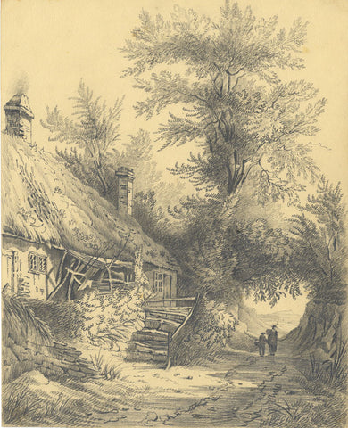 Thatched Cottage with Figures - Original early 19th-century graphite drawing